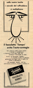 Pictures taken from ads of Tempo paper handkerchiefs published in an Italian magazine in 1960.