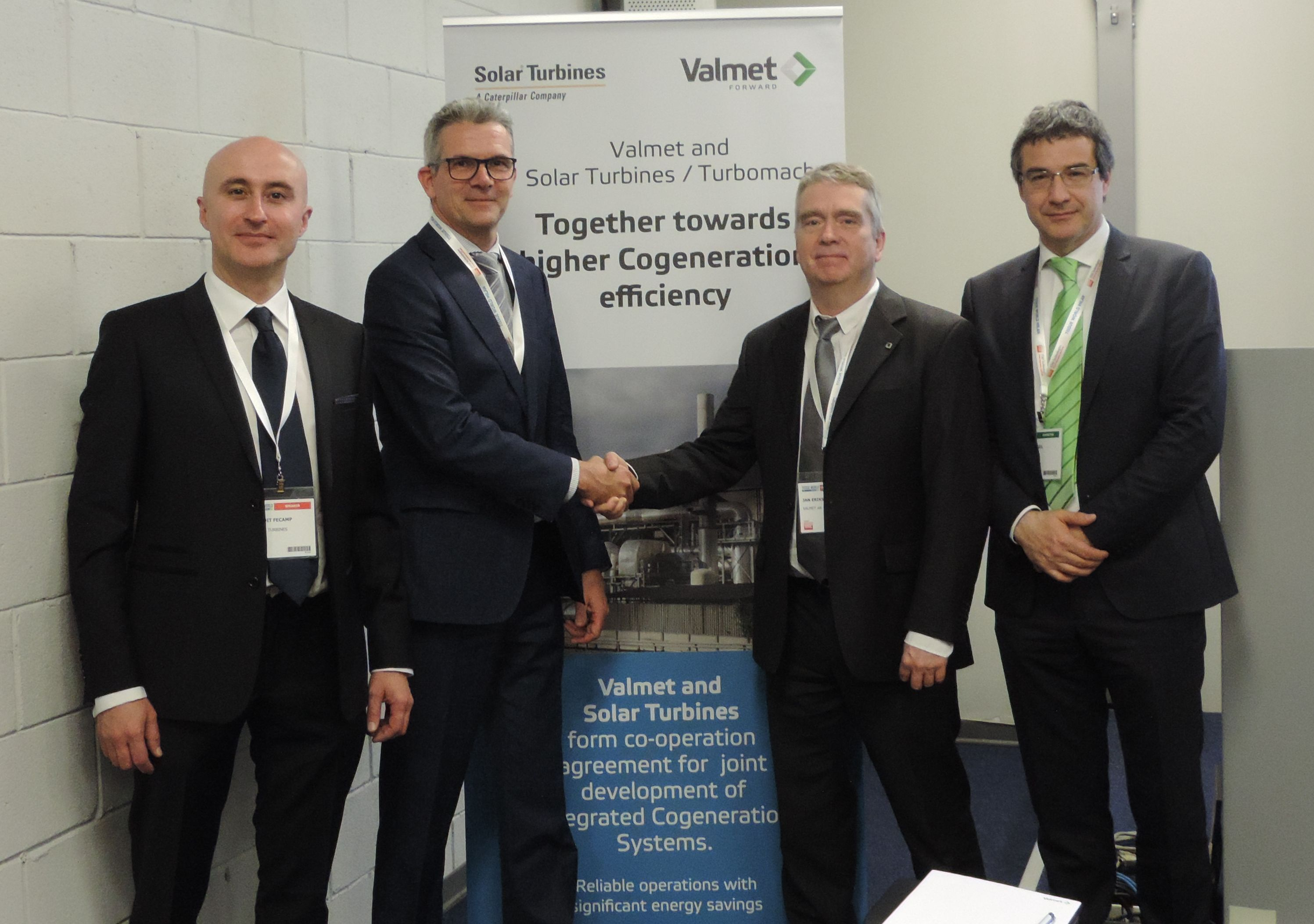 From left to right Benoît Fécamp, Paper & Tissue Market, Global, Market Development and Aad Den Elzen, Business Development Director, Solar Turbines Power Generation; Jan Erikson, VP Sales, Tissue Mills Business Unit and Paolo Vezil, Product Sales Manager, Valmet.