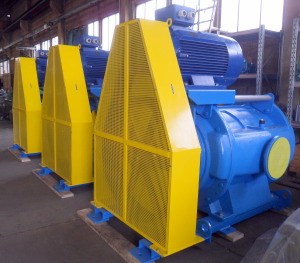 Three vacuum pumps with saddle motor ALN120\2000 produced by Azmec for IMC in Lucca.